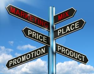 Wegwijzer, product, prijs, plaats, promotie, de vier P's van de marketingmix