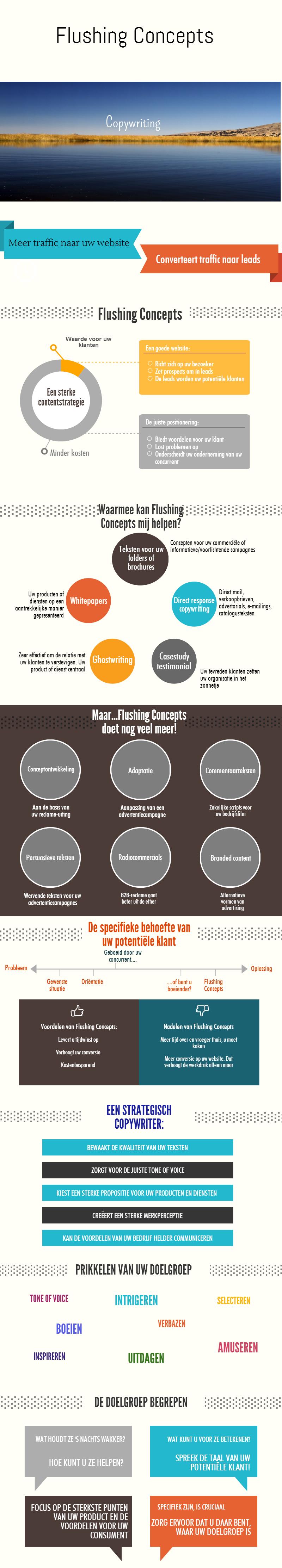 Infographic over de dienstverlening van Flushing Concepts. Wat is er op het gebied van copywriting mogelijk?